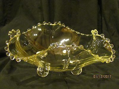 Vintage Fluted Glass Footed Candle Wicking Bowl Dish