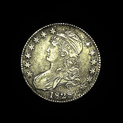 1828 ~**AU DETAILS**~ Silver Capped Bust Half Dollar Antique US Old Coin! #901