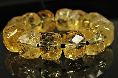 Natural Quality Citrine Micro-Faceted Rondelle - 7.5mm x 5mm - 14 beads - 4723A
