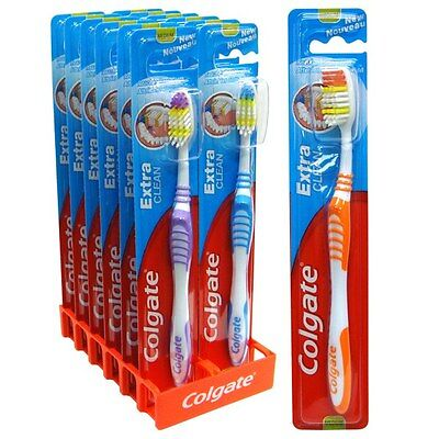 72 x Colgate Extra Clean Toothbrush medium - Multi Coloured tongue cleaner bulk!