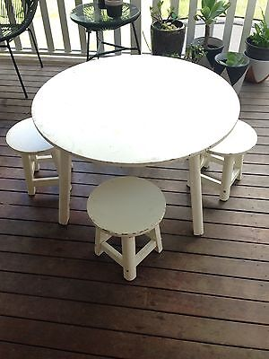 Table and Chairs Stools Kids Coffee Table White