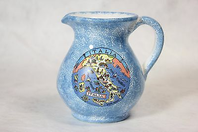 Blue ASSISI Italia Points of Interest Pottery Porcelain Creamer Pitcher Italy!