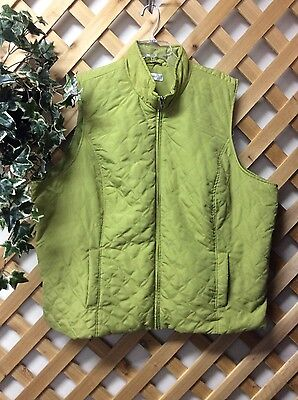 CJ Banks Womens Plus Size 3X Green Zip Front Quilted Microfiber Vest