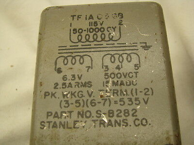 Stanley  Power Transformer 6.3V @2.5A & 500V CT @ 15 MADC