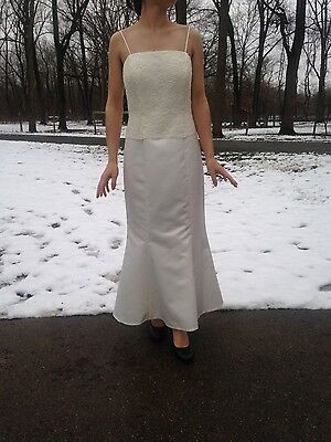 2pc 1/2 New Ivory Beaded Lace Wedding Dress Bridal Gown Jacket Trumpet Size 6