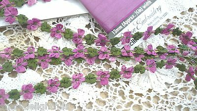 "18"" Violets French Silk Buds Bows Trim  Antique Fashion Mignonette Doll Dress"