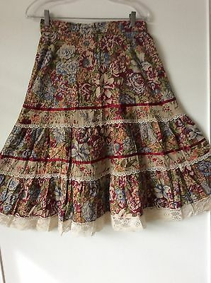 Vintage Skirt Sz 13 Circle Gypsy Floral Ribbon Lace Tiers Romantic