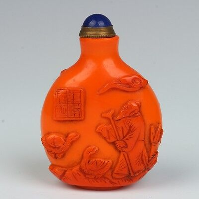 Exquisite Chinese Glass hand-crafted The old man snuff bottle