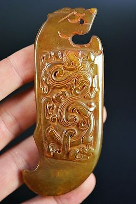 Chinese old jade hand carved dragon&phoenix Weapon pendant JP171
