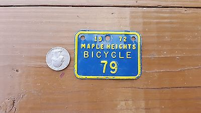Vintage 1972 Maple Heights Ohio bicycle license plate
