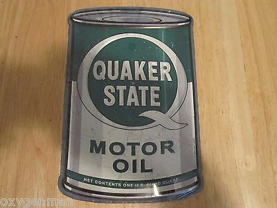 """QUAKER STATE Motor Oil Can Shaped 3-D Metal Embossed Gas Service Station 8"""" Sign"""