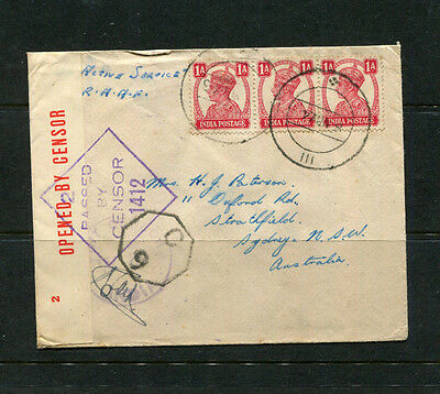 India Wwii Military Mail Censored Cds Cache X 2 On Cover Raaf F/sgt To Australia