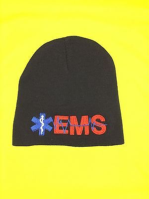 NEW Embroidered EMS Medical Star Of Life Navy Knit Beanie Stocking Cap Hat