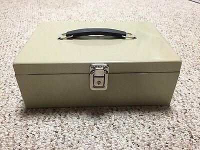 Cash Box With Key New Taupe Color MMF Industries Removable Tray