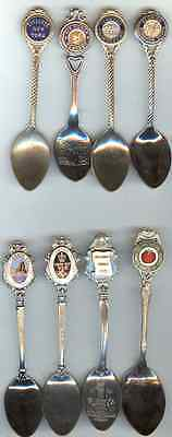 8 Different Small Similar Style Souvenir Spoons