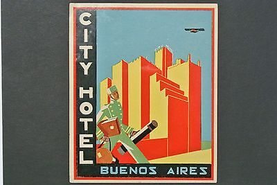 Vintage City Hotel Buenos Aires Argentina Luggage Label Decal 1940's