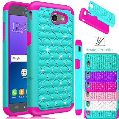 For Samsung Galaxy J3 Emerge/Prime/Luna Pro Phone Case Hybrid Bling Rubber Cover
