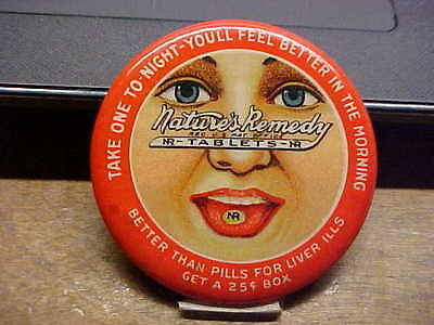 NATURES REMEDY Tablets Celluloid Advertising Pocket Mirror