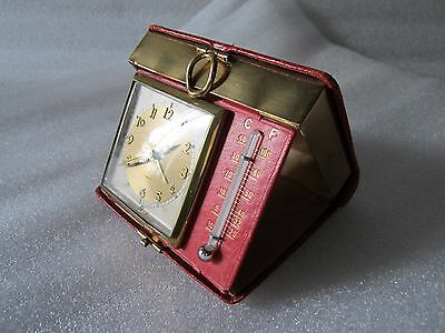 Rare KOHLER 7 Jewels Travel Mechanical Clock w/ Thermometer Germany U.S. Zone