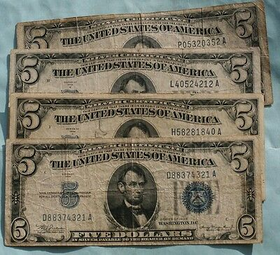 THREE (3) $5 1934 SILVER CERTIFICATES  *A, B and C SERIES*