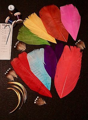 Dyed Turkey Tail Feathers Plus Extras...  Salmon Fly Tying Fishing  Rare 11