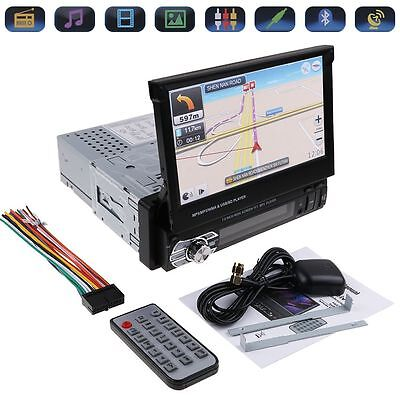 "Car 9601G 7"" HD Touch Retractable Screen Single GPS 1 DIN MP5 Bluetooth Player"