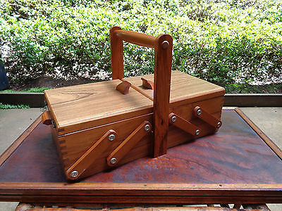 VINTAGE WOODEN CANTILEVER 2 TIER SEWING BOX, Crafts, Storage, Caddy Box, DECOR