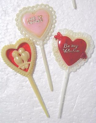 VALENTINE Cup Cake Picks Plastic Hearts Lovebirds Lace Lot of 24 Assorted