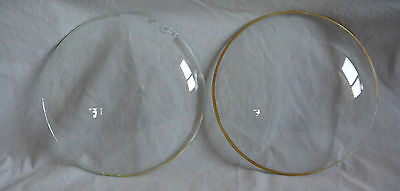 2 Mantel Clock Convex Dome Glass Doors 6.5 Inches Diameter Each