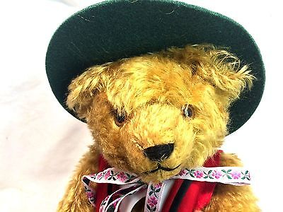 """Hermann LE 75th Birthday In Memory Musical Edelweiss 15"""" Mohair Jointed Bear"""