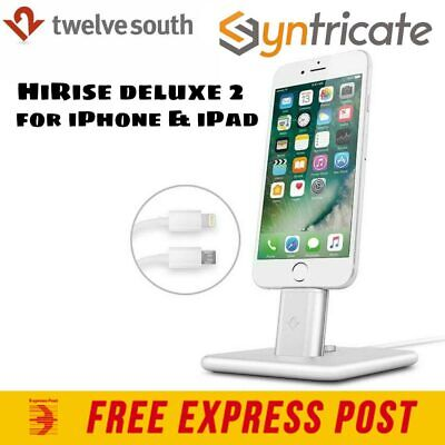 Twelve South HiRise Deluxe 2 Stand Dock for iPhone 7/7 plus/iPad/Android- Silver