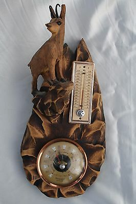 Vintage 1960s French Carved Wood Wall Barometer & Thermomete Alpine ibex France