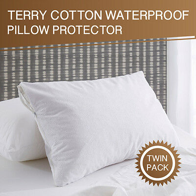 2 x Terry Cotton Cover Waterproof Anti-allergy Pillow Protector Case- 48 x 73cm
