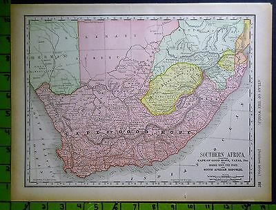 Cape of Good Hope South Africa Map Printed 1894 11x14 Inches