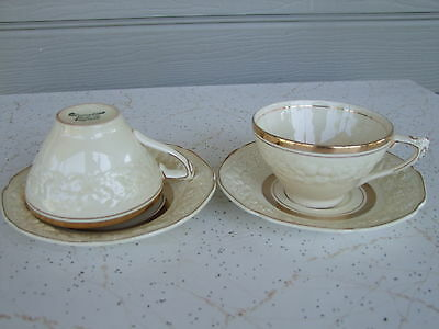 2 CROWN DUCAL 'FLORENTINE' England CREAM & GOLD Cups and sausers