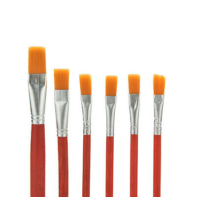 6X Nylon Hair Artist Water Colour Acrylic Oil Painting Paint Brush Set Supply AT