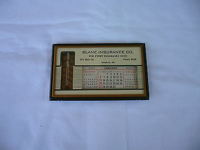 Vintage Blane Insurance Company 1957 Calendar and Thermometer-Mint Condition