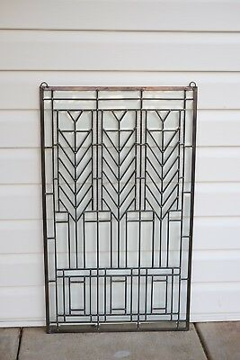 "Beveled clear window panel FRANK LLOYD WRIGHT ""TREE OF LIFE"" 20.5"" x 34.5"""