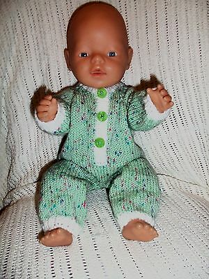 "Hand Knitted Dolls ""onsie"" For Baby Born/annabel 16-18Ins  Or Similar Type Doll"