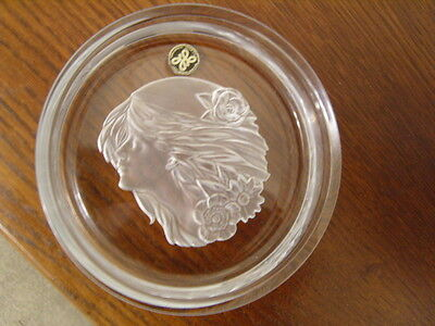 """Hoya  Crystal Japan """" Etched With Art Deco Design Young Girl With Flowing Hair"""