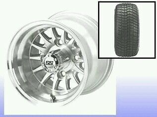 """GOLF CART 10"""" MACHINED/SILVER MEDUSA WHEELS/RIMS and 205/50-10 DOT LOW PRO TIRES"""