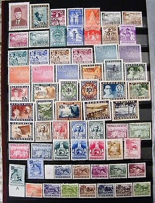 Indonesia Mixed Lot of 65 Stamps MLH and Fine Used