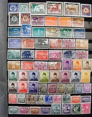 Indonesia Mixed Lot of 71 Stamps MLH and Fine Used