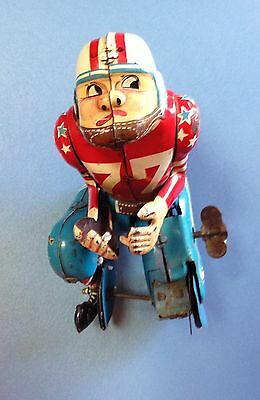 Vintage LineMar Tin Wind-Up Toy Football Player