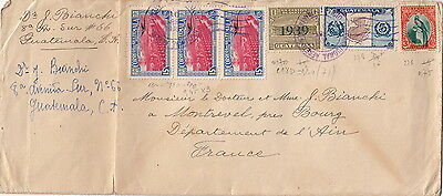 Guatemala 1939 Surcharge Cover to france