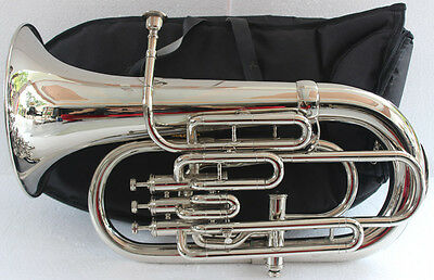 "Euphonium Nickle Plated Bb FLAT 4V ""CHOPRA ""M/ Piece & Bag Fast Shipping"