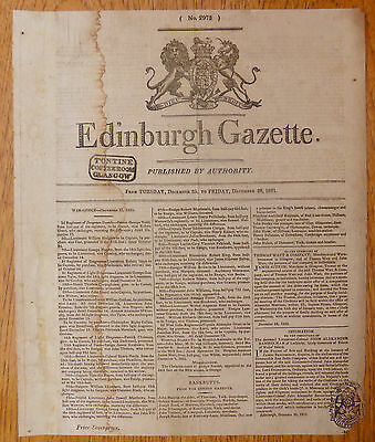 1821 December Edinburgh Gazette for Tontine Coffee Room with SEE BELOW XY207