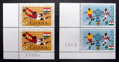 """GHANA 1965 Soccer Cup 6p & 24p with Error """"No Stop After November"""" U/M YZ623"""