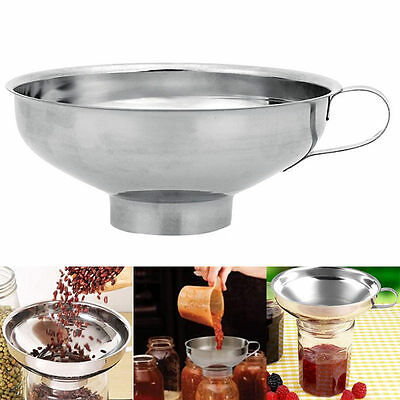 Stainless Steel Wide Mouth Canning Funnel Cup Hopper Filter Kitchen Tools New