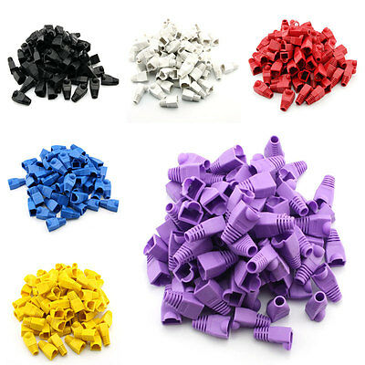 100pcs RJ45 Cat6 Cat5E Ethernet Cable Snagless Cover Strain Relief  Boot Top